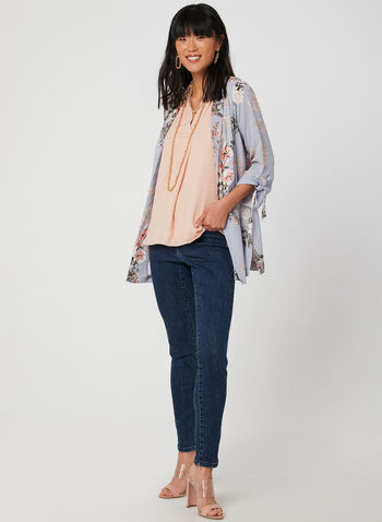Signature Fit Straight Leg Jeans, Blue, hi-res,  Signature, straight leg, sequins, beads, cotton, pockets, fall 2019, winter 2019