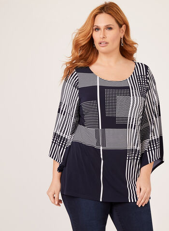 Geometric Print ¾ Sleeve Top, Blue, hi-res