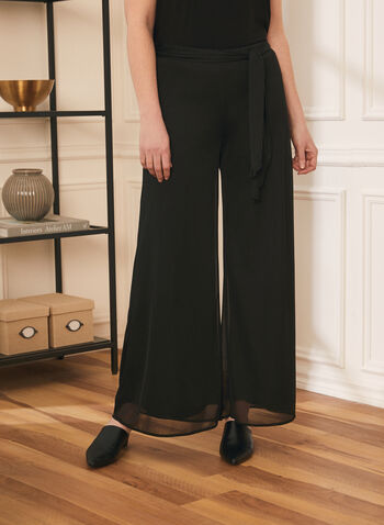 Signature Fit Wide Leg Pants, Black,  mesh, sash, jersey, pull on, fall winter 2020
