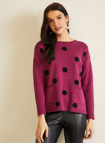Polka Dot Dolman Sleeve Sweater, Multi,  fall winter 2020, scoop neck, dolman, long sleeve, ribbed, contrast, polka dot, pattern, comfort, stretch, sweater, pullover