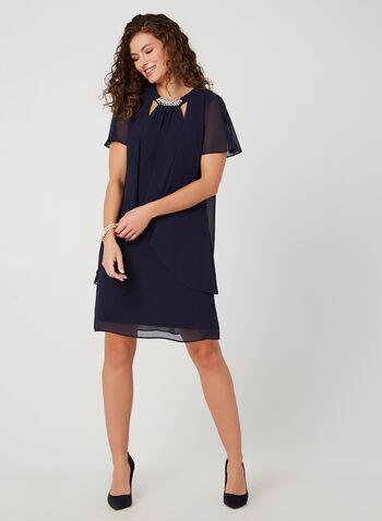 Pearl Detail Chiffon Dress, Blue, hi-res,  dress, pearl, chiffon, short sleeve, fall 2019, winter 2019