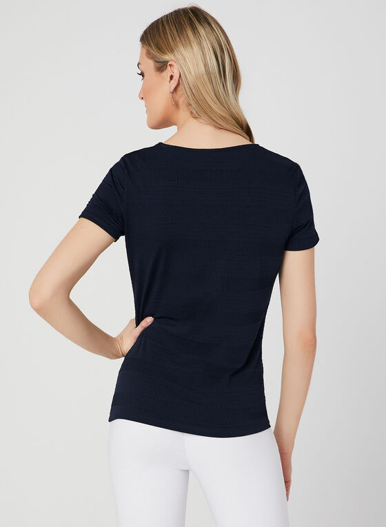 Textured Short Sleeve Top, Blue