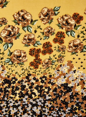 Foulard léger fleuri, Jaune, hi-res,  foulard, fleuri, oblong, automne hiver 2019