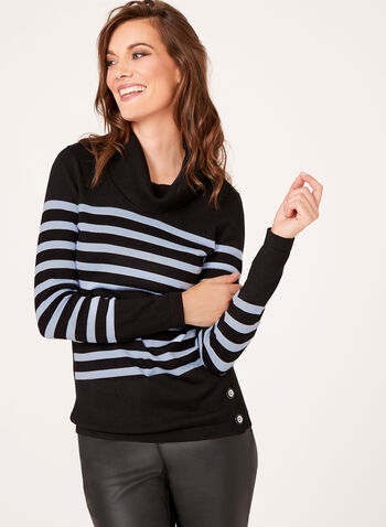 Button Detail Striped Sweater, Black, hi-res