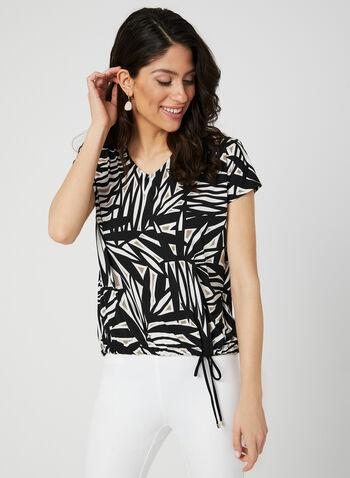 Haut motif abstrait à détail lacet, Noir, hi-res,  manches courtes, printemps 2019, jersey, lien, nœud