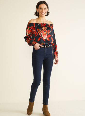 Off The Shoulder Smocked Blouse, Black,  top, blouse, floral, smocked, off the shoulder, long sleeves, fall winter 2020
