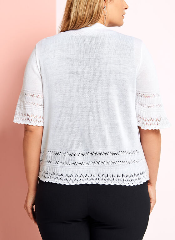 Boléro en tricot pointelle à manches coude, Blanc, hi-res