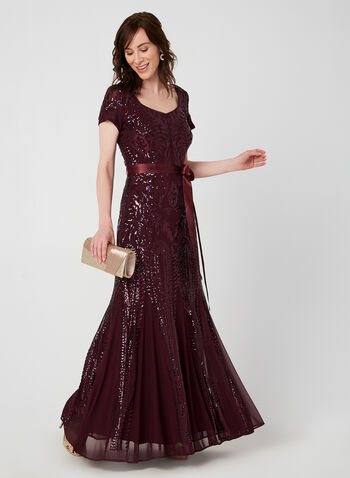 Sequin Mesh Dress, Purple,  evening gown, short sleeves, belted, ribbon, sweetheart neckline, fall 2019, winter 2019