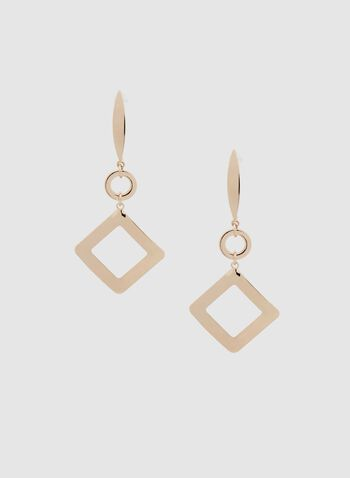 Open Square Dangle Earrings, Gold, hi-res