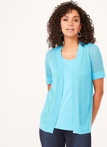 Cardigan en tricot pointelle à manches courtes, Bleu, hi-res