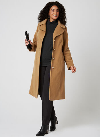Anne Klein - Lapel Collar Coat, Brown, hi-res