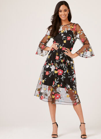 Midi Floral Print Day Dress, Black, hi-res