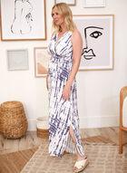 Abstract Print Maxi Dress, Blue