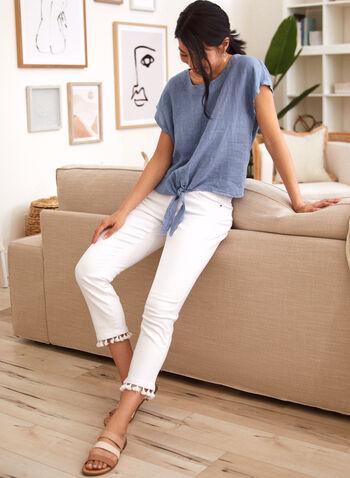 Charlie B - Pom Pom Ankle Jeans, White,  tassel detail, spring summer 2021, ankle length, 3/4, mid rise, zipper, buttoned, pocketed, metal rivets,