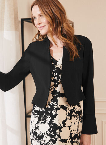 Jacket & Floral Print Dress, Black,  dress, day, floral, sleeveless, v-neck, jacket, open front, reverse notch collar, tulip cuffs, long sleeves, set, spring summer 2021