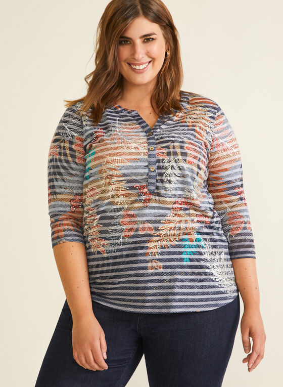 T-shirt à col tunisien motif floral, Bleu