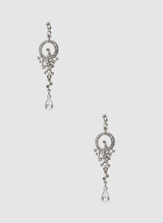Linear Crystal Dangle Earrings, Silver