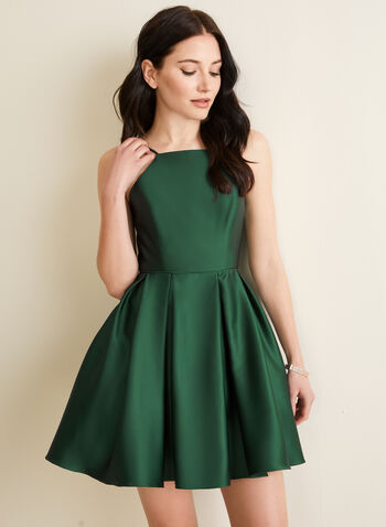 Satin Apron Neck Dress, Green,  dress, junior, party, satin, spaghetti straps, apron neck, boned, pleated, crinoline, pockets, spring summer 2020
