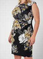 Floral Print Draping Dress, Black, hi-res