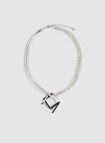 Collier à pendentif géométrique, Gris, hi-res,  automne hiver 2019, collier, bijou, accessoire, géométrique, maille serpent