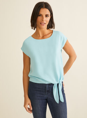 Cap Sleeve Blouse, Blue,  blouse, cap sleeves, scoop neck, crepe top, crepe blouse, spring top, spring 2020, summer 2020