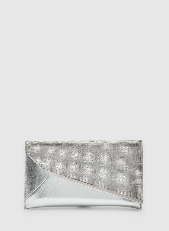 Pochette à rabat asymétrique et cristaux, Argent, hi-res