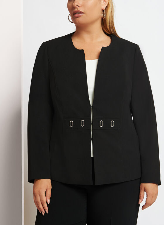Crepe Knit Eyelet Trim Blazer, Black, hi-res