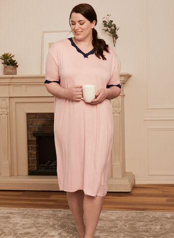 Lace Trim Nightgown, Pink,  Spring Summer 2021, nightgown, lace trimmings, night dress, sleepwear, pyjamas