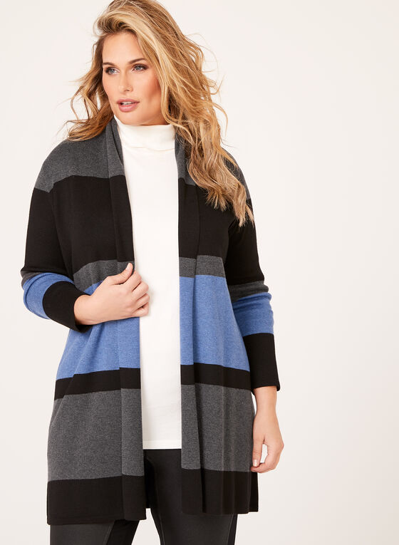 Stripe Knit Open Front Cardigan, Black, hi-res