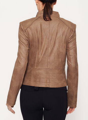 Faux Suede Zipper Trim Jacket, , hi-res