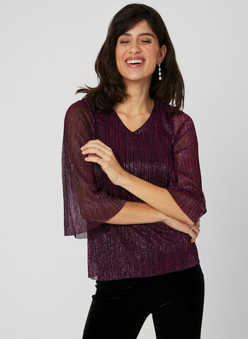 Metallic V Neck Top, Multi, hi-res