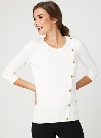 Metal Detail Rib Knit Sweater, Off White, hi-res