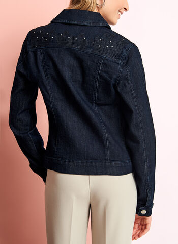 Embellished Embroidered Denim Jacket, Blue, hi-res
