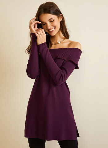 Cold Shoulder Knit Tunic, Purple,  tunic, knit, sweater, off the shoulder, long sleeves, fall winter 2020