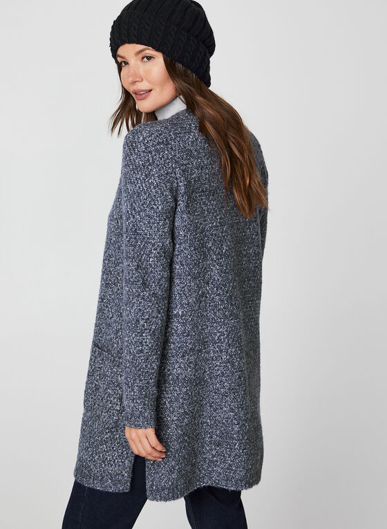 Knit Open Front Cardigan, Blue