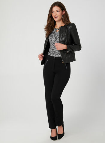 Faux Leather Front Zip Blazer, Black, hi-res,  blazer, zipper, long sleeve, faux leather, rivets, fall 2019, winter 2019