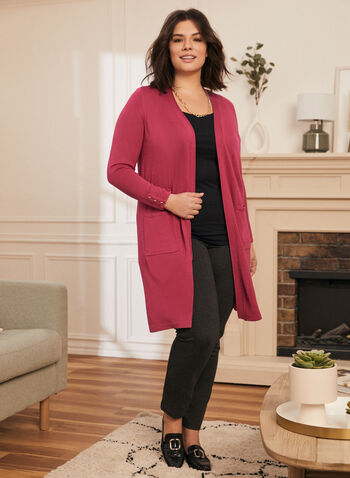Open Front Knit Cardigan, Purple,  cardigan, knit, open front, long sleeves, button detail, tunic, spring summer 2021