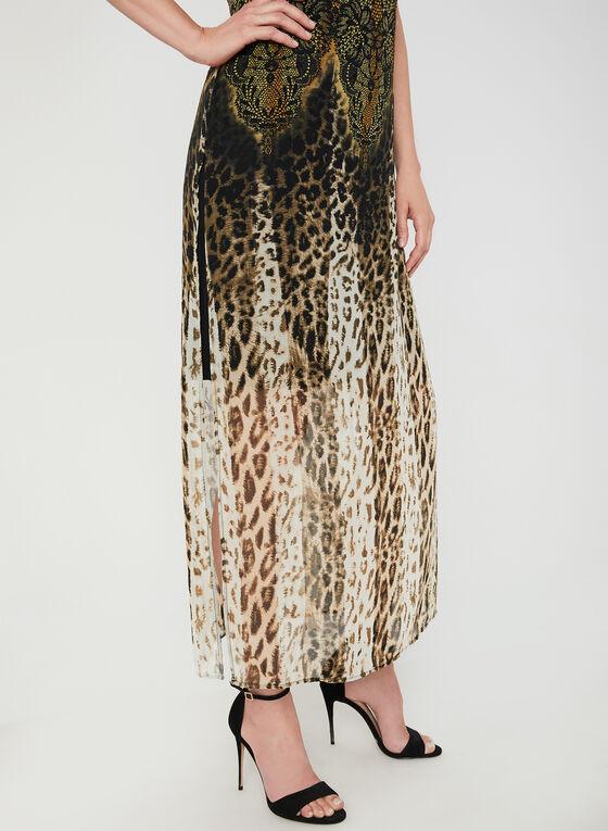Robe en mousseline à motif léopard, Brun, hi-res