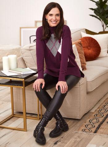 Argyle Mock Neck Sweater, Purple,  fall winter 2020, sweater, argyle, long sleeves, ribbed, knits, holiday