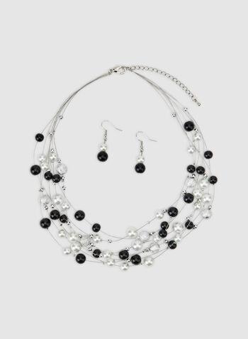 Collier court à perles, Noir, hi-res,  collier, court, multi chaînes, perles, automne hiver 2019