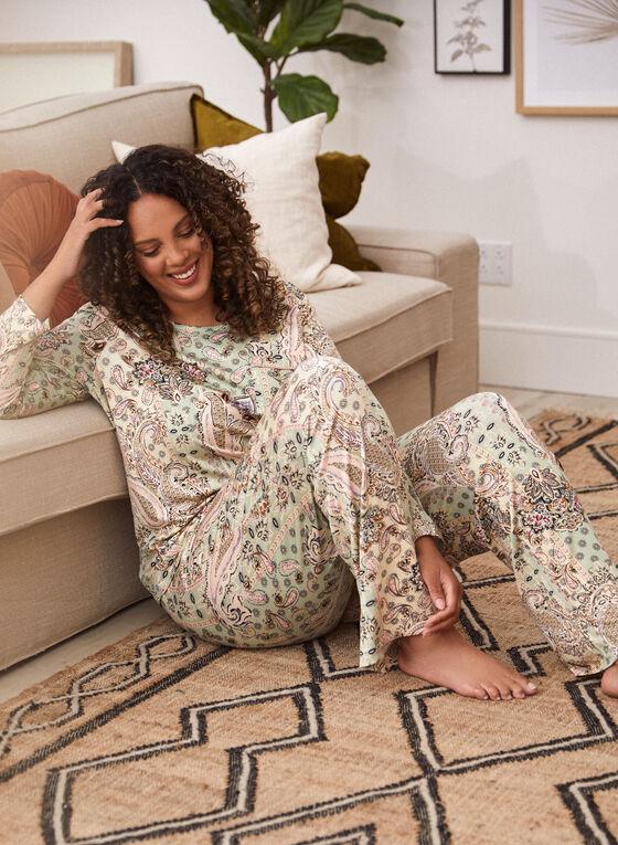 Paisley Print Pyjama Pants, Green