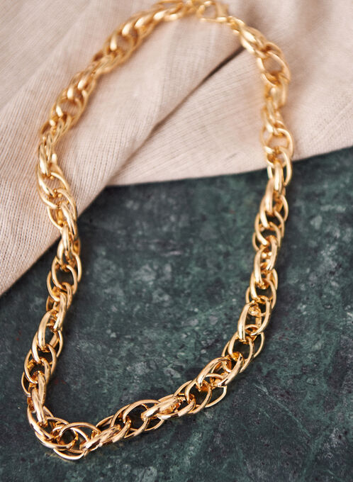 Short Double Link Necklace, Gold