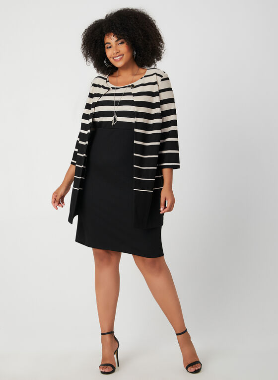 Sleeveless Dress & Knit Jacket, Black, hi-res
