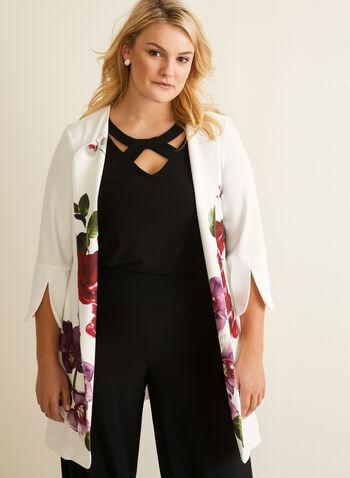 Joseph Ribkoff - Veste ouverte fleurie, Blanc,  veste, longue, ouverte, fleurie, redingote, manches 3/4, jersey, printemps été 2020