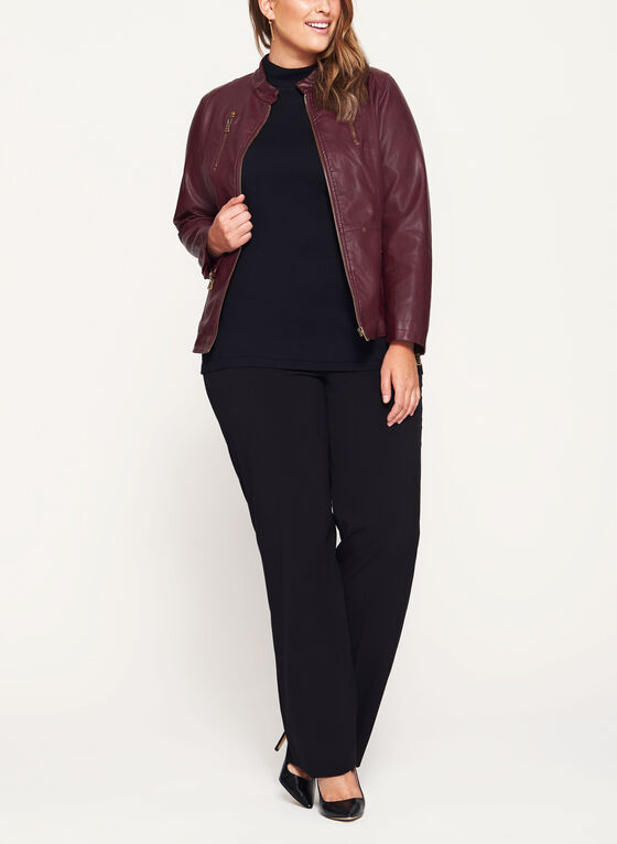 Faux Leather Zipper Trim Jacket, Red, hi-res