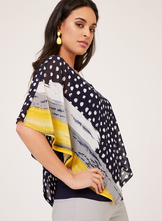 Abstract Print Poncho Blouse	, Blue, hi-res