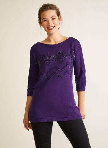 Pull à manches  ¾ et détails miroitants , Violet,  automne hiver, pull, chandail, haut, tricot, manches ¾, manches 3/4
