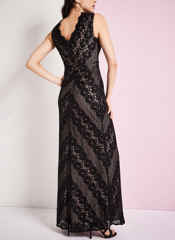 Chevron Print Lace Gown , Black, hi-res