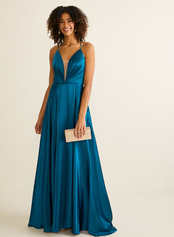 Pleated Bodice Satin Dress, Green,  prom dress, sweetheart, a-line, satin, sleeveless, lace-up, pockets, mesh, slit skirt, spring summer 2020