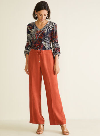 Modern Fit Wide Leg Pants, Orange,  pants, pull-on, modern, wide leg, pockets, spring summer 2020